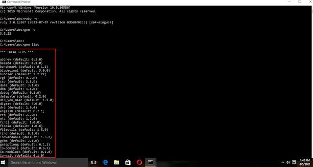 Gem list command ( to check ruby gem list on Windows 10) Ruby download and installation tutorial for Windows 10