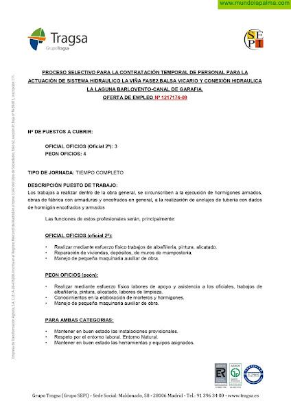 Oferta de empleo - Grupo Tragsa