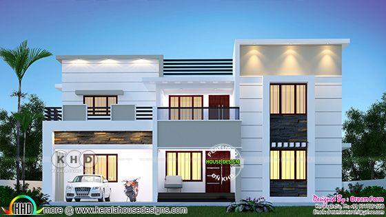 Modern flat roof style house night view rendering