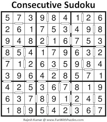 Answer of Consecutive Sudoku Puzzle (Fun With Sudoku #399)