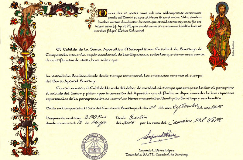 The Compostela certificate is a medieval document presented to pilgrims who complete the Camino de Santiago. Photo: © Pilgrim's Reception Office in Santiago de Compostela.