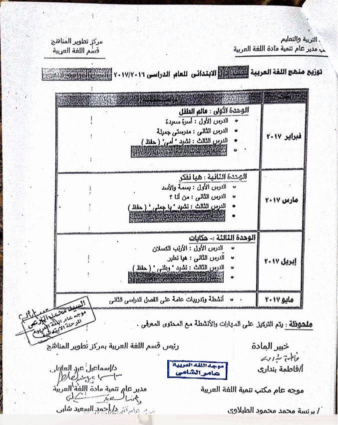 جدول توزيع و الخطة الزمنية لمنهج اللغة العربية كاملا جميع الصفوف الابتدائية الترم الثانى 2018