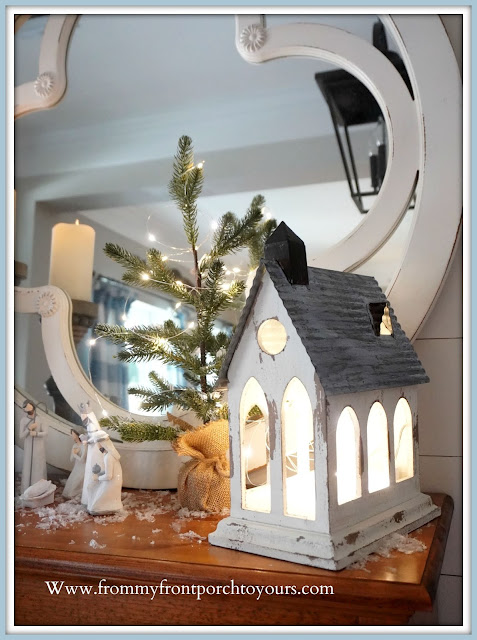 Cottage -Farmhouse- Christmas- Foyer-Vignette-Wooden-Church-Fairy-Lights-From My Front Porch To Yours