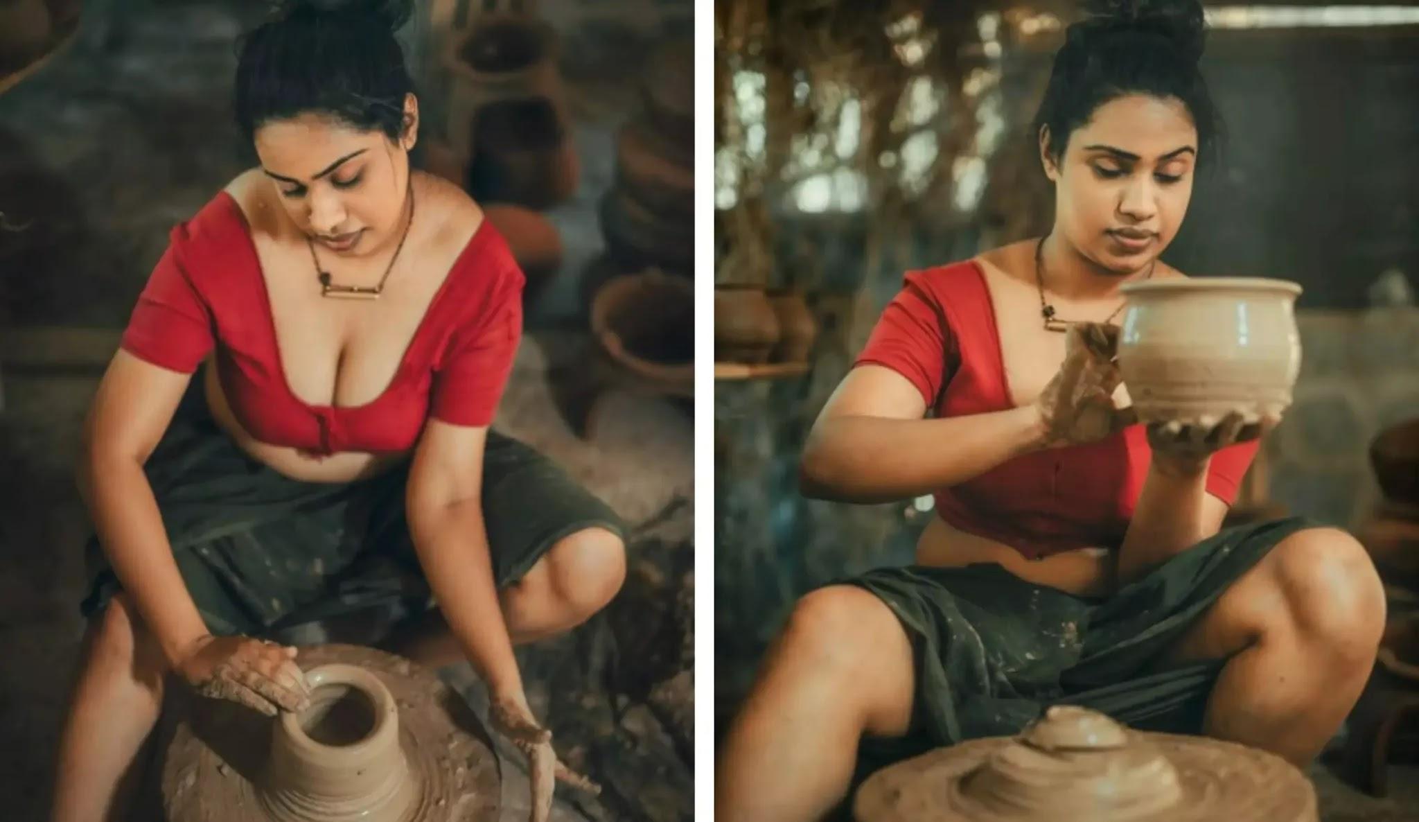 glamorous girl making pottery
