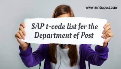 SAP T Code list for the Department of Posts