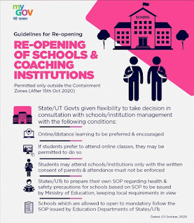 From 15th October, Schools will reopen on these terms, according to government guidelines