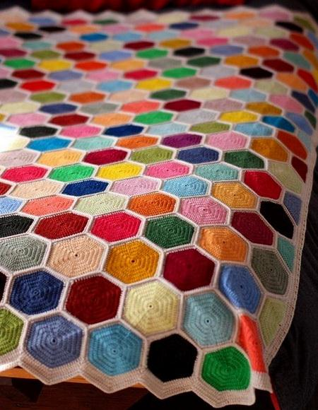 Solid Granny Hexagon crochet pattern, crochet blanket