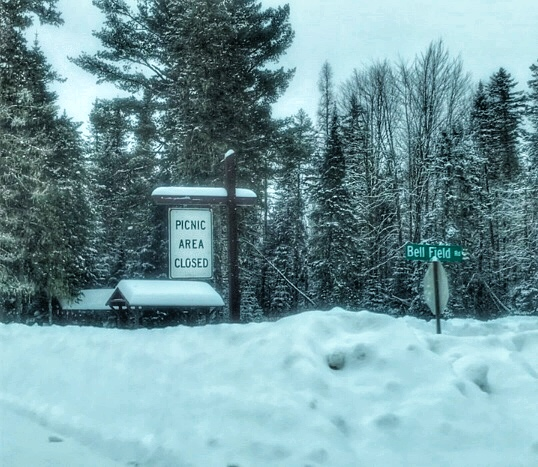 snowed under picnic area in Maine