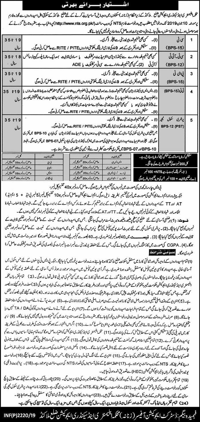 NTS Jobs in Malakand for PET, DM, AT, Primary School Teacher, Qari, Qaria