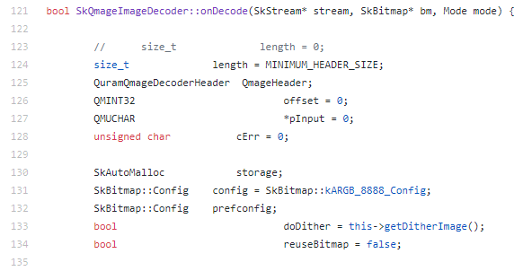 Code snippet of the SkQmageImageDecoder::onDecode method