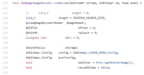 Code snippet of the SkQmageImageDecoder::onDecode method