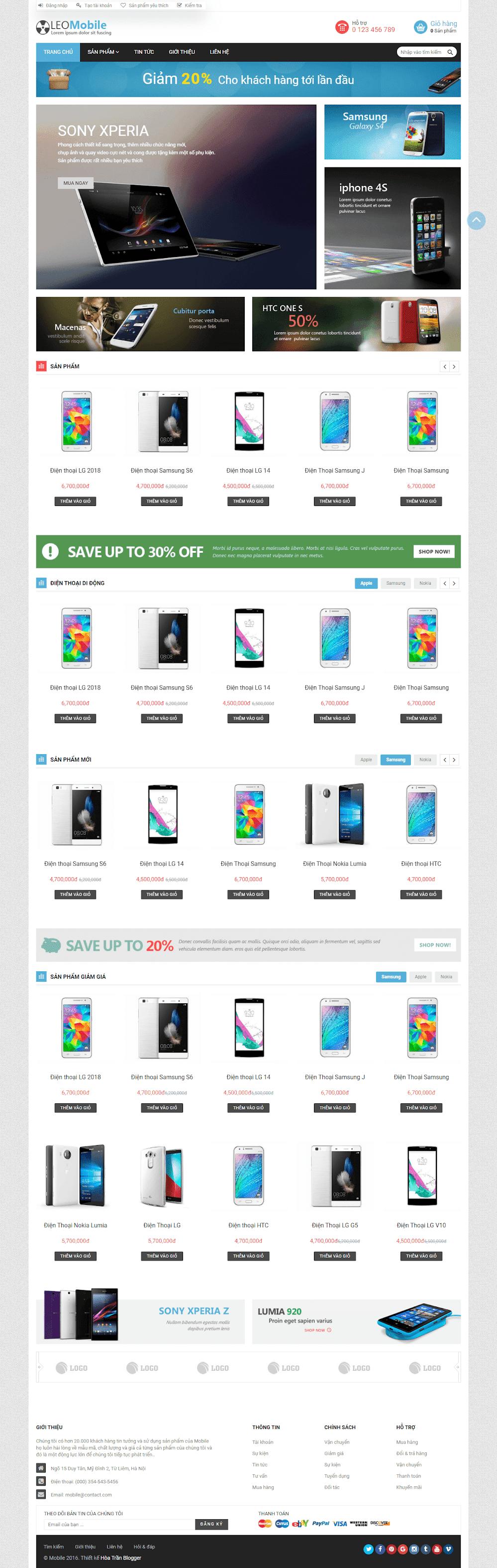 Template blogspot bán hàng điện thoại, thiết bị điện tử