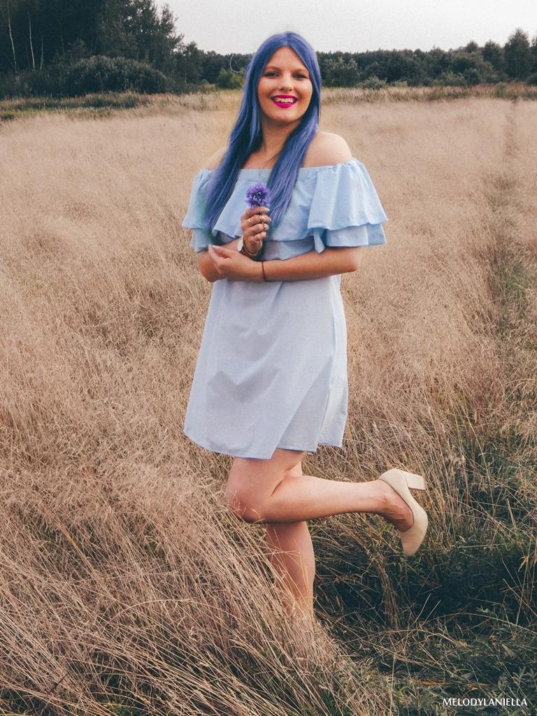 3 daniel wellington ootd lookbook fashion blogger modowe blogerki z łodzi melodylaniella blue hair niebieskie włosy baby blue hiszpanka venita błękitna sukienka stylizacja outfit modna polka pastel hair