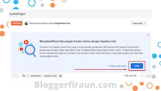 Notifikasi dari Google tentang Question Hub muncul didashboard Blogger