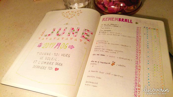 Bujo - Page mensuelle Juin