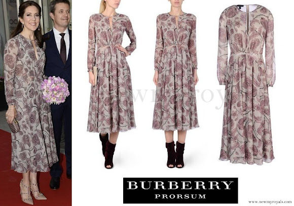 Princess Mary wore Burberry Prorsum Floral Silk-Georgette Dress
