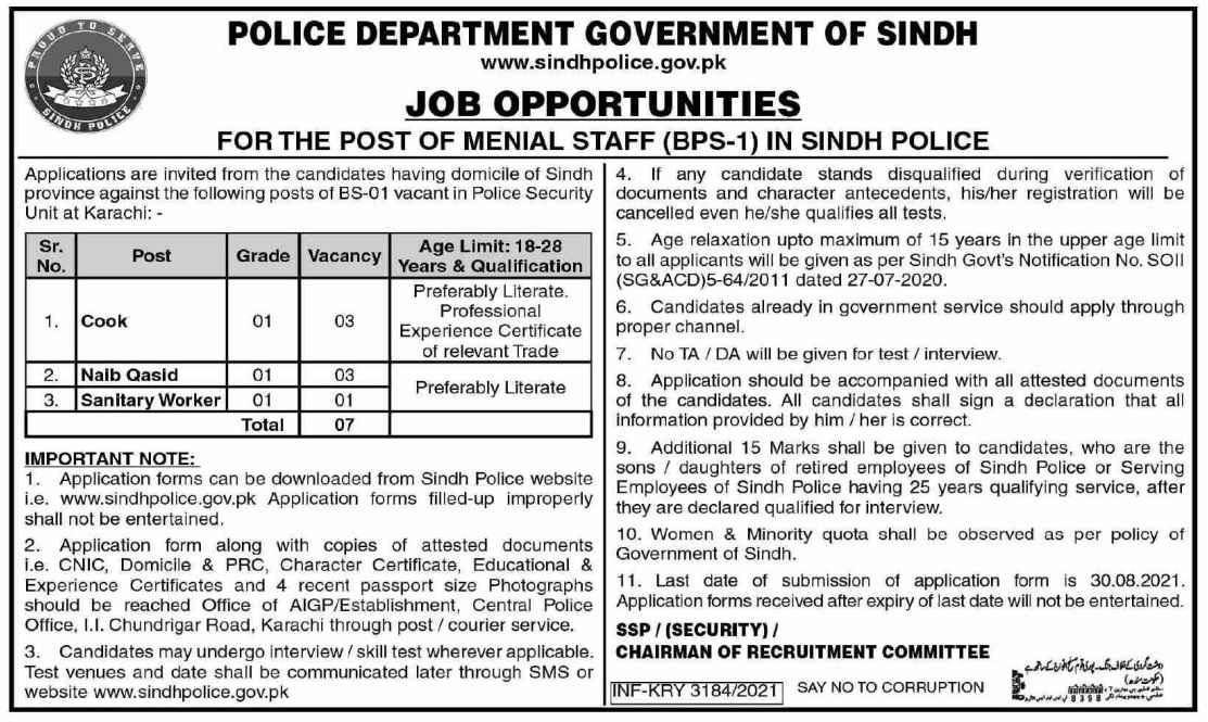 Sindh Police Department Government Of Sindh Menial Staff Jobs 2021