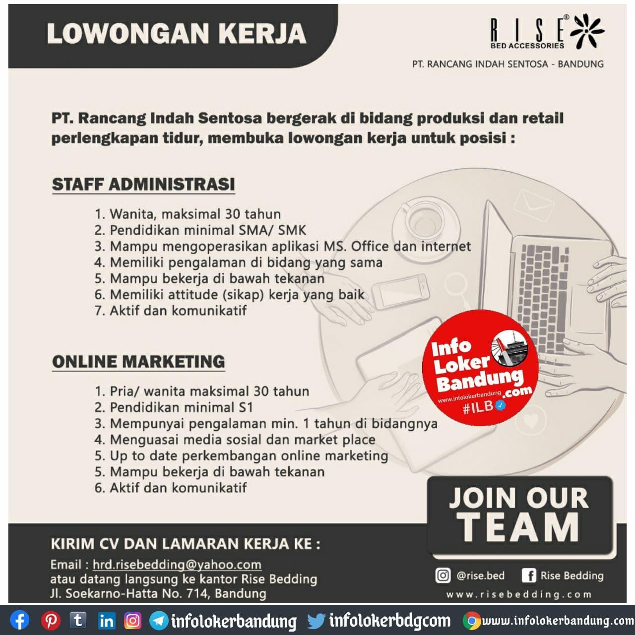 Lowongan Kerja PT. Rancang Indah Sentosa ( Rise Bed Accessories ) Bandung November 2020