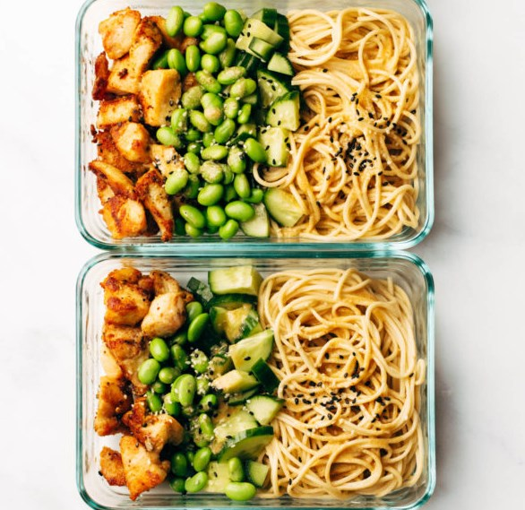 15 Minute Meal Prep: Sesame Noodle Bowls #lunch #meal