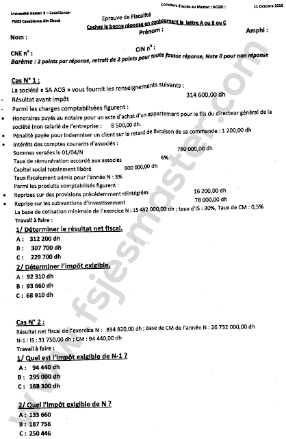 Exemple Concours Master Audit Contrôle de Gestion et Système d'Information (ACGSI) 2015-2016 - Fsjes Ain Chock