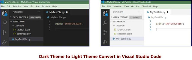 Dark theme to Light Theme in Visual Studio Code