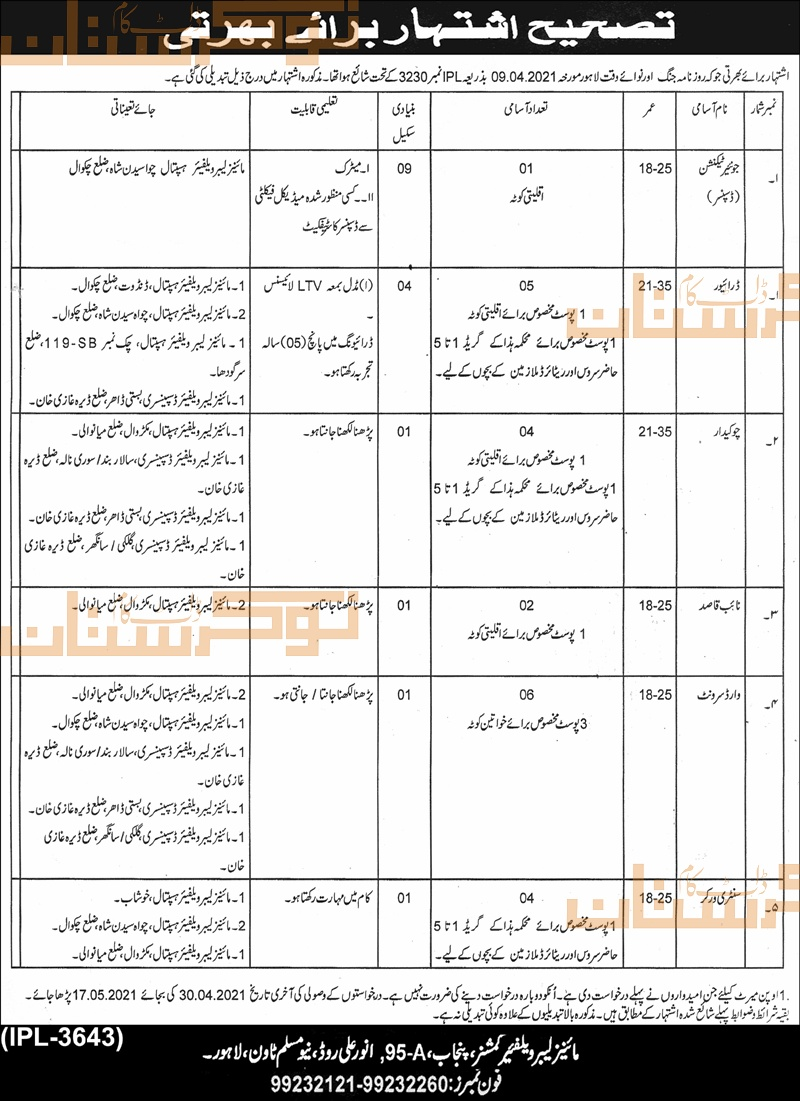 government,mines labour welfare commissioner punjab,junior technician, driver, chowkidar, naib qasid, ward servant, sanitary worker,latest jobs,last date,requirements,application form,how to apply, jobs 2021,