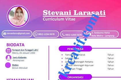 Download Desain CV Kreatif 2020 Gratis dengan MS Word Tema Pink Fanta