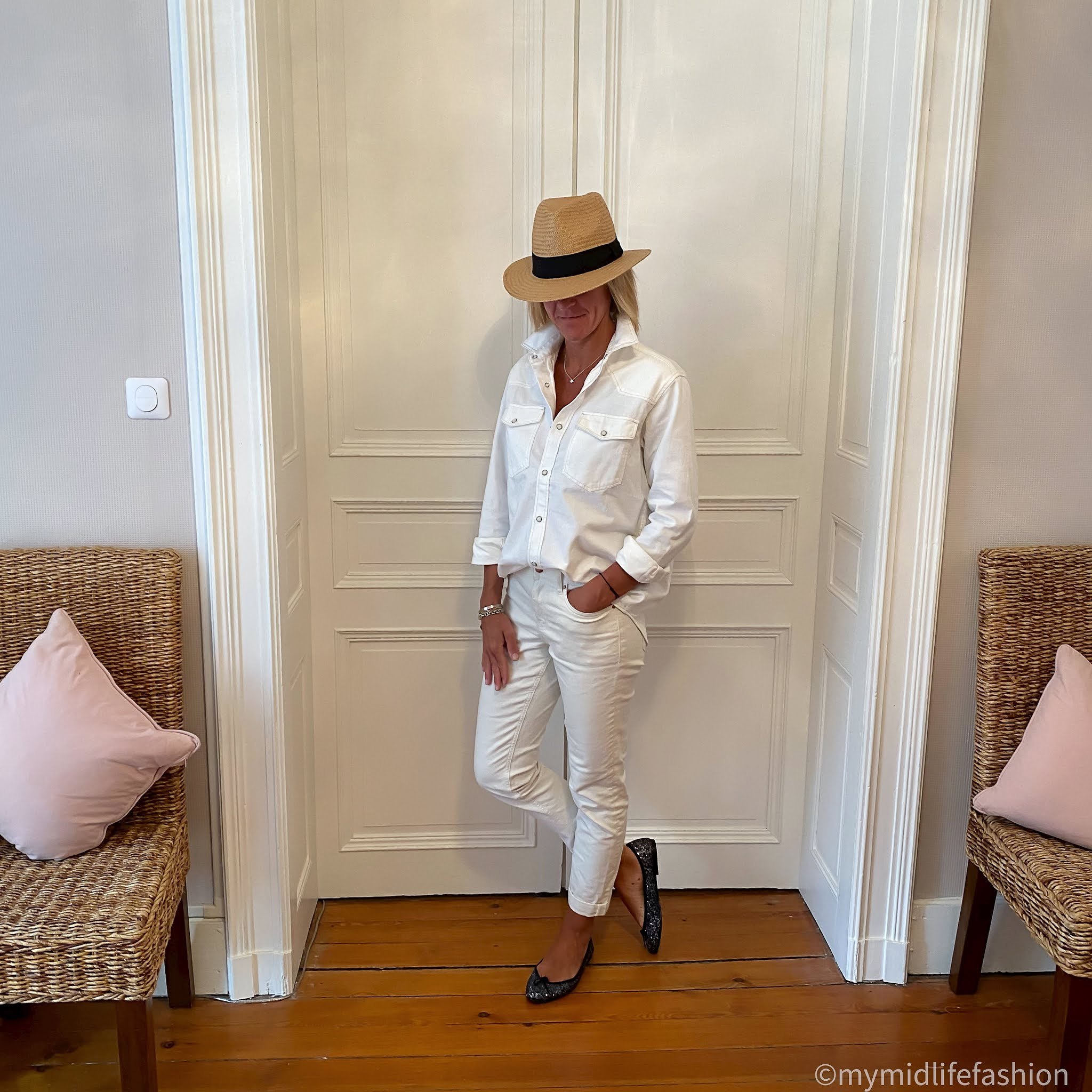 my midlife fashion, h and m Panama hat, h and m conscious denim shirt, boden girlfriend jeans, French sole Henriette glitter ballet pumps