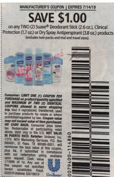 "$1.00/2 Suave Deodorant Coupon from ""RMN"" insert week of 7/28 (EXP:8/11)."