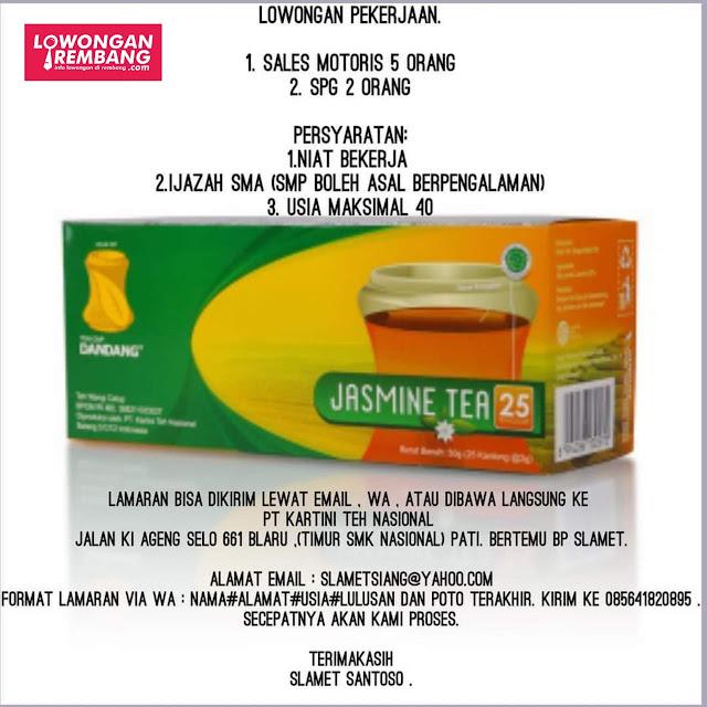 Lowongan Kerja Sales Motoris Dan SPG Jasmine Tea PT Kartini Teh Nasional Rembang