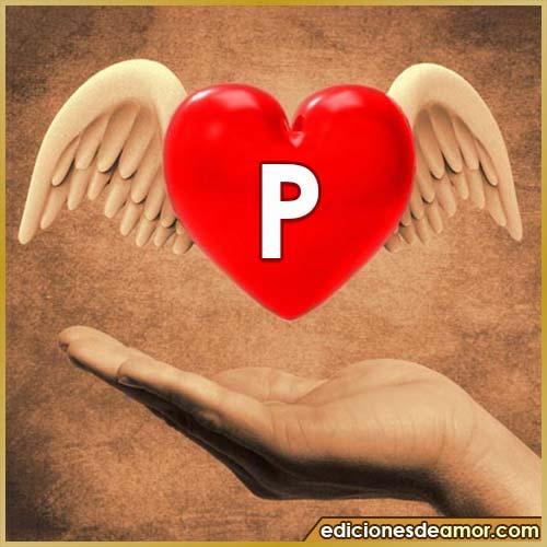 corazón con alas con letra P