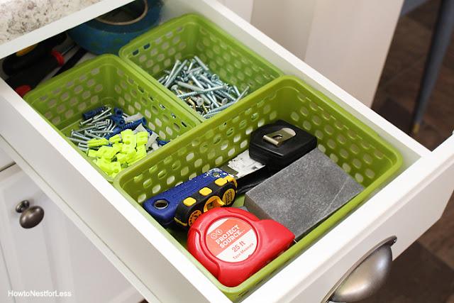 Dollar store baskets to organize a junk drawer : OrganizingMadeFun.com