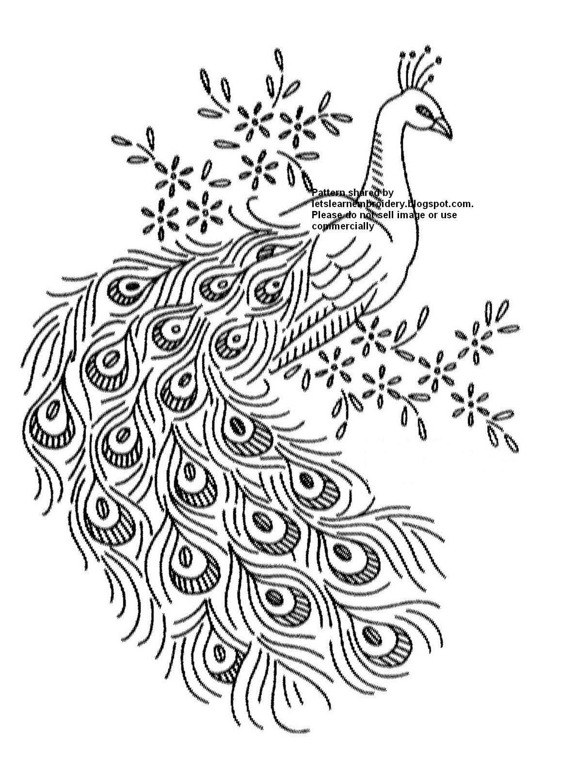 Lets Learn Embroidery Free Peacock Pattern 1
