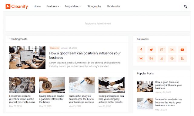 Chia sẻ Cleanify Blogger Template bản miễn phí