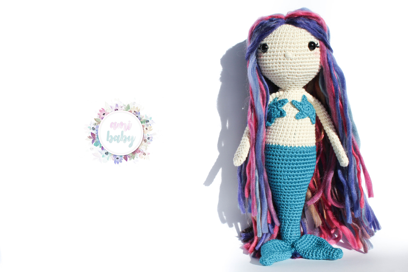 Sirena amigurumi con el pelo de colores.amigurumi mermaid, with ...