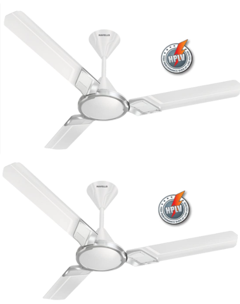Havells Zester 1200mm Ceiling Fan (Pearl White, Pack of 2)