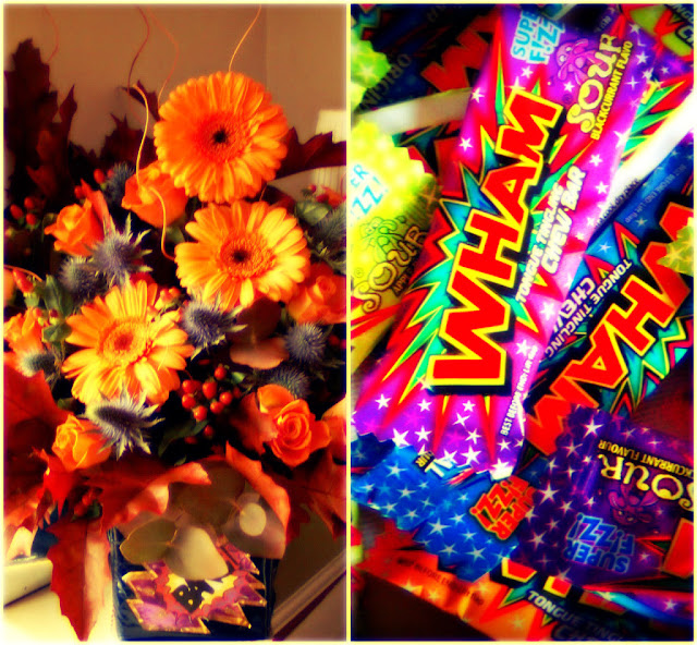Wham bars and autumn flowers