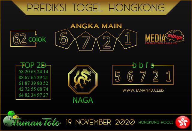 Prediksi Togel HONGKONG TAMAN TOTO 19 NOVEMBER 2020