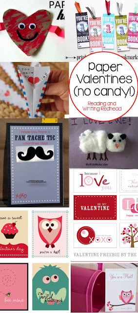 Paper valentines- no candy from Reading and Writing Redhead