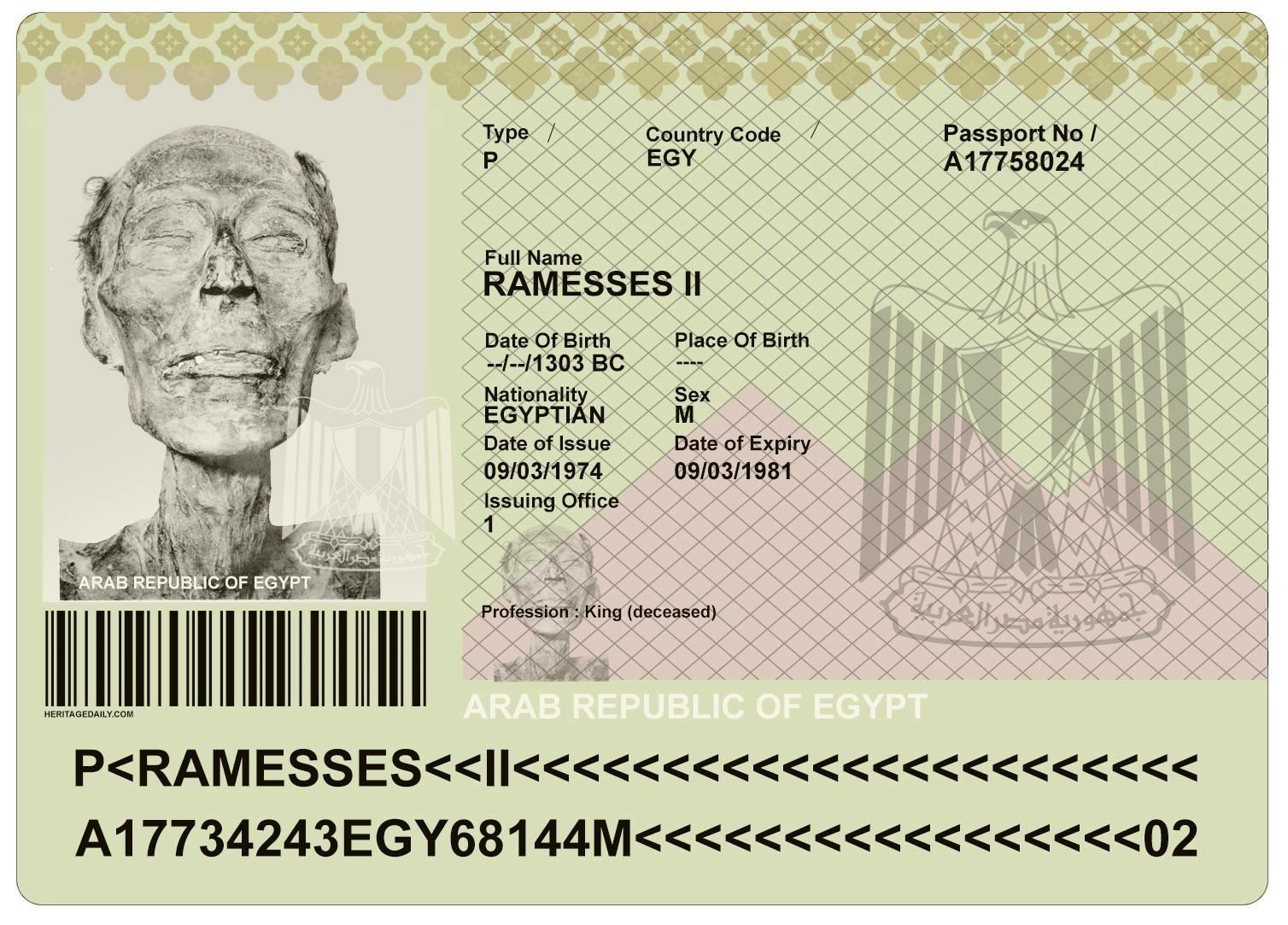 Ozymandias, Passport, Pharoah, Mummy