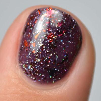 blackberry jelly nail polish with flakies swatch