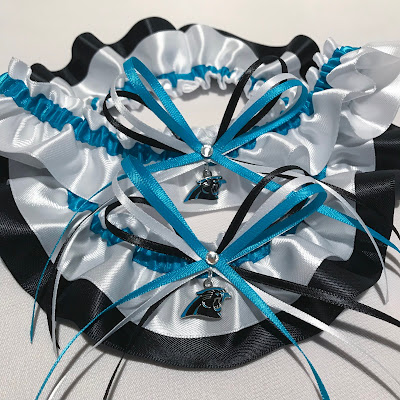 Custom Carolina Panthers Wedding Garter Set by Sugarplum Garters