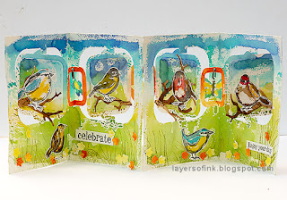 Layers of ink - Watercolor Birds Accordion by Anna-Karin Evaldsson