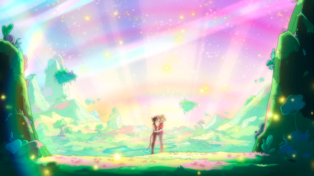 Two young women embrace in a vibrant landscape with rainbows and sparkles