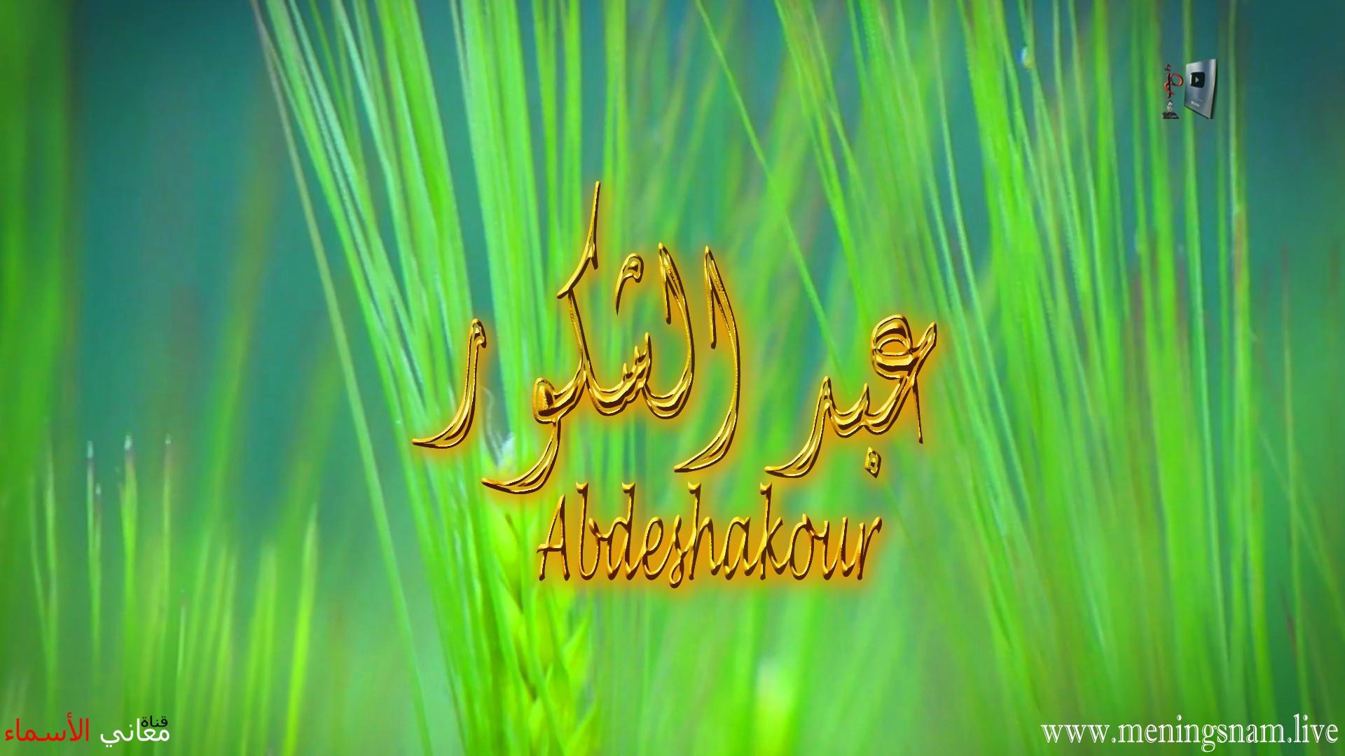 معنى اسم عبد الشكور وصفات حامل هذا الاسم Abdeshakour