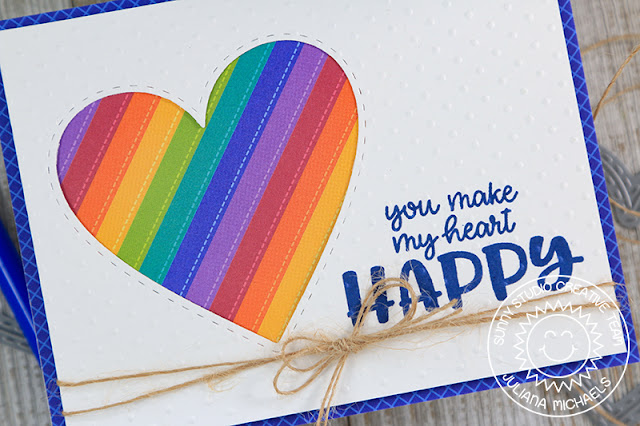 Sunny Studio Stamps: Happy Thoughts Stitched Heart Rainbow Heart Happy Card by Juliana Michaels