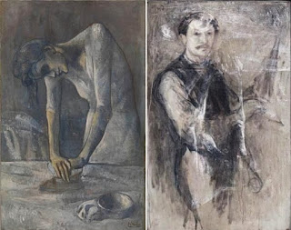 Pablo Picasso's Woman Ironing painting created in 1904 and its renovated X ray image with x ray fluorescence spectroscopy.