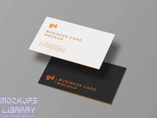 floating business card mockups