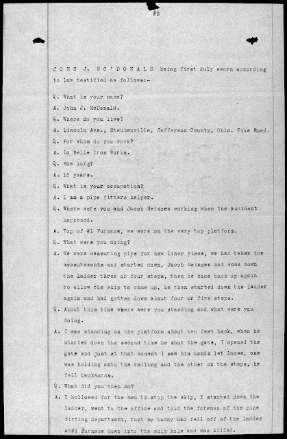 Coroner's Report for Jacob Meinzen of Steubenville, Ohio, testimony of John J. McDonald
