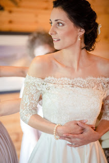 Brunette bride and wedding gown in Scottish Wedding Venue